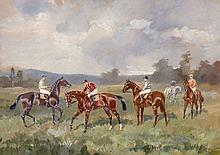 """Baron Karl André Reille Paris, 1886 - Cerelles, 1974 """"Avant le départ"""" Aquarelle"""