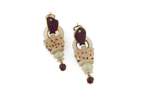BALDAN MARIA GRAZIA  Paire de pendants d'oreilles