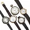Ensemble de 4 montres militaires de la première Guerre Mondiale accompagné d'une montre de col. Accidents et manques.  Vendu...