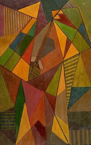 Paul ACKERMAN (1908 - 1981) LE CHEVALIER Huile sur toile double face