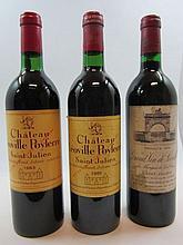 9 bouteilles 2 bts : CHÂTEAU LEOVILLE LAS CASES 1979 2è GC Saint Julien (étiquettes très tachées)