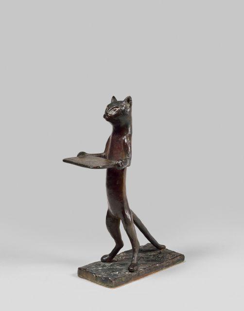 Diego GIACOMETTI 1902 - 1985 Chat maître d''hôtel (à plateau rectangulaire) Bronze à patine brun-rouge