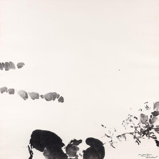 ZAO WOU-KI 1920 - 2013 Sans titre - 1980 Encre de Chine sur papier fin contrecollé sur papier