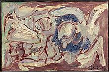 Pierre ALECHINSKY Né en 1927 L''oiseau de proie - 1956 Huile sur toile