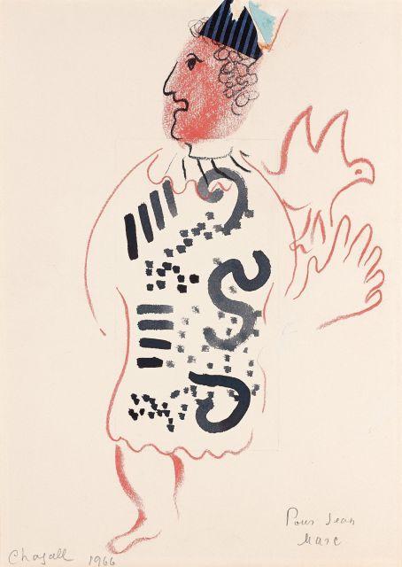 Marc CHAGALL 1887 - 1985 Personnage à l''oiseau - 1966 Encre, pastel, crayon et collage sur papier
