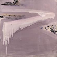 Olivier DEBRÉ (1920 - 1999) LOIRE AU TRAIT MAUVE PÂLE - 1972 Huile sur toile