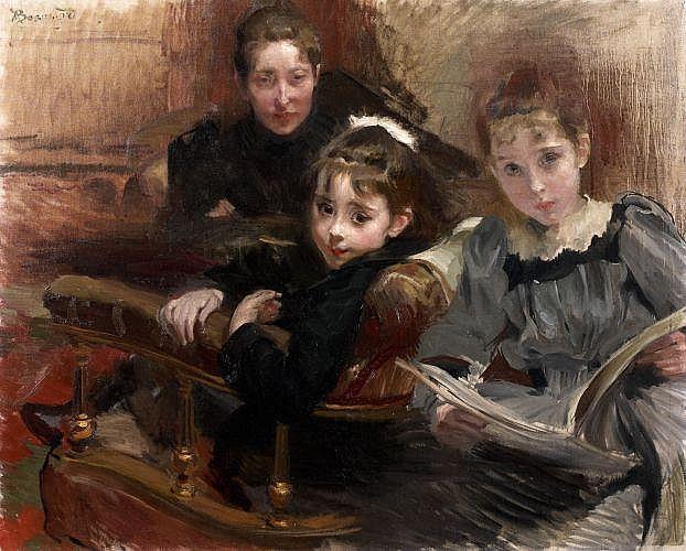 Paul-Albert Besnard Paris, 1849 -1934 Madame Alfred Lenoir et ses deux filles Huile sur toile