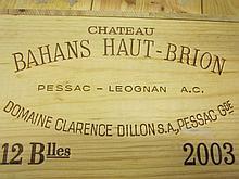 12 bouteilles CHÂTEAU BAHANS HAUT BRION 2003 CC Pessac Léognan Caisse bois d'origine