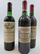 3 bouteilles 1 bt : CHÂTEAU CARDINAL VILLEMAURINE 1966 GC Saint Emilion (haute épaule, étiquette fanée)