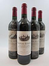 4 bouteilles CHÂTEAU AUSONE 1995 1er GCC (A) Saint Emilion (la majorité des bouteilles de cette cave ont des étiquettes protégées par u