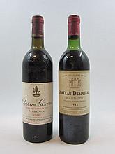 2 bouteilles 1 bt : CHÂTEAU DESMIRAIL 1982 3è GC Margaux (légèrement bas)