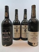 4 bouteilles 1 bt : PORTO DOW'S 1980 Vintage (étiquette très abimée)