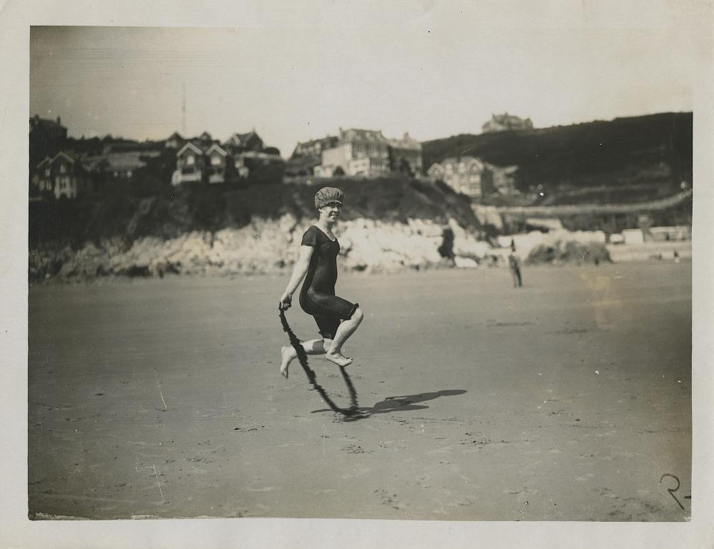 Vintage Antique rare Photo Beach Skipping on the Sand