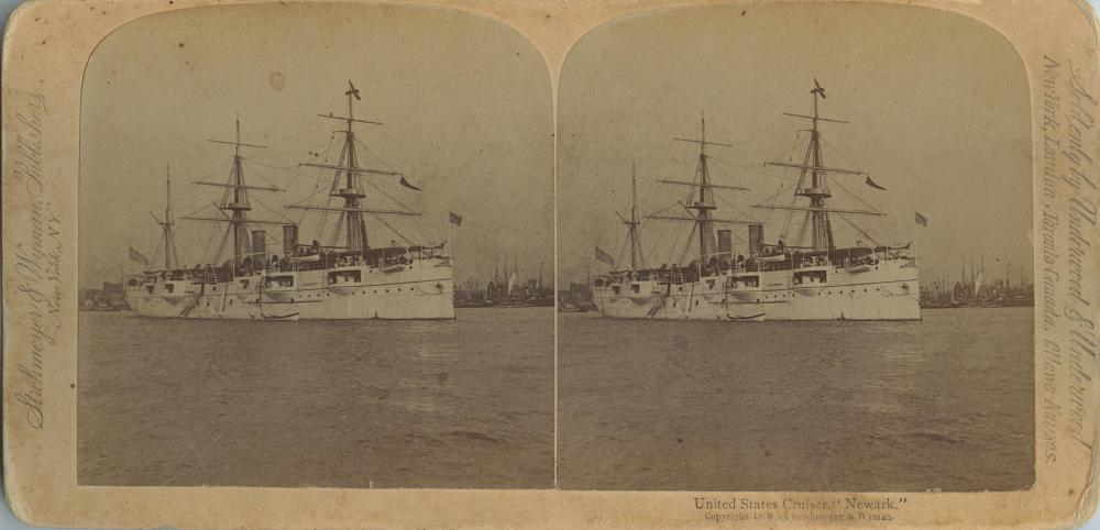 Antique Real Photo Stereoview US Cruiser Newark
