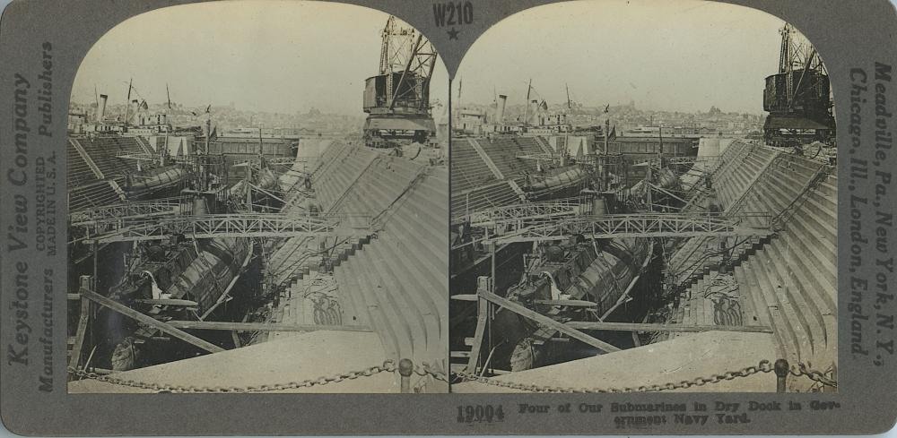 Antique Real Photo Stereoview Submarines Dry Dock