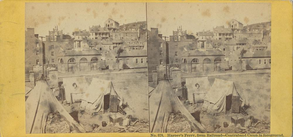 Antique Real Photo Stereoview Civil War Contraband Slaves