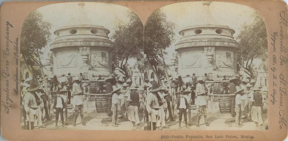 Antique Real Photo Stereoview Public Fountain Mexico