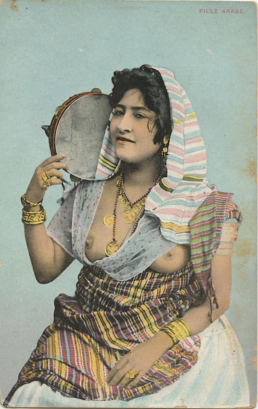 Antique Vintage Rare Postcard Seminude Arab Female