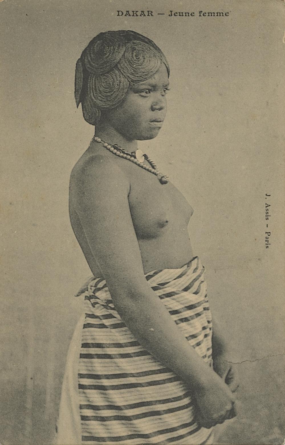 Antique Vintage Rare Postcard Nude Dakar Female