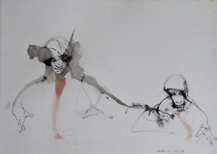 RAFAEL DUSSAN (1957 - ) Authentic Drawing, Listed Artist
