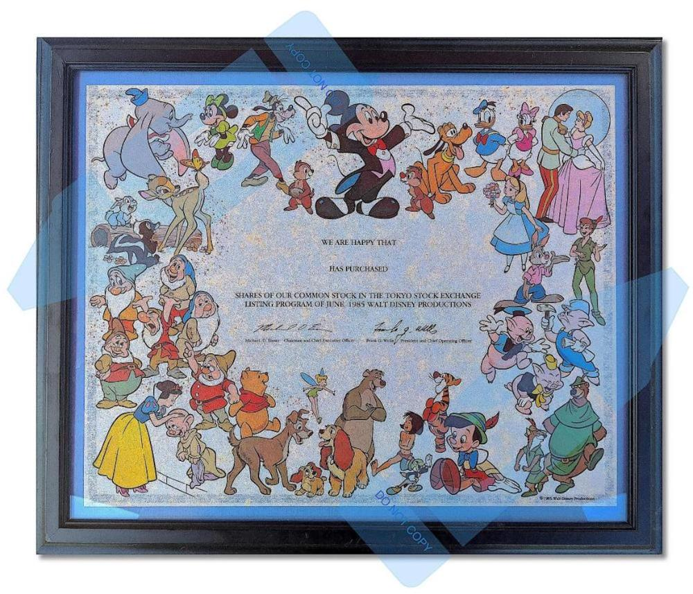 The First Rendered Master Disney Stock Certificate