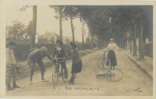 Antique Photo Learning to Bicycle Ride, 1900's