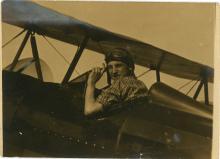 Antique print photograph American biplane Aviation