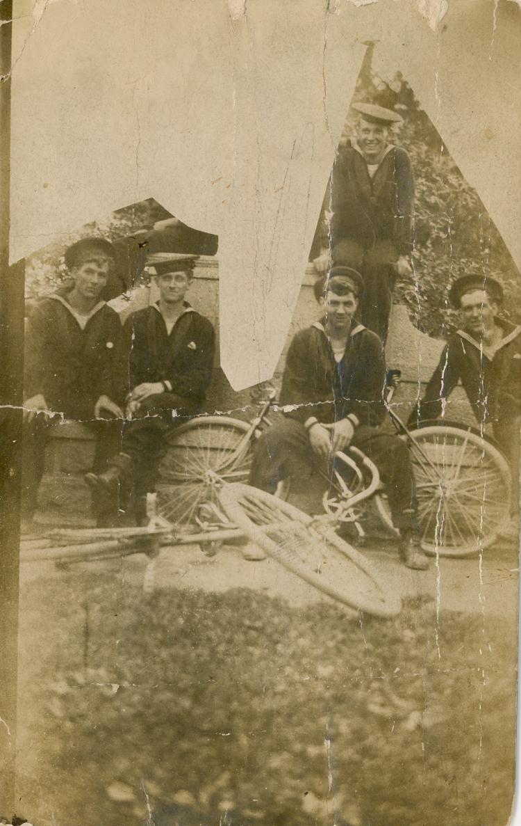 Antique Photo PC Marines with Bicycle