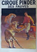 1900s French Vintage Circus Poster, Cirque Pinder Tiger, French