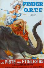 Circus French Poster with Elephant 1960's