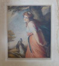 Signed mezzotint of Emma Hamilton by George P James after Romney 1921
