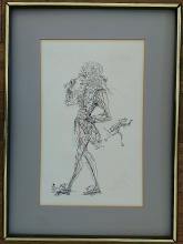 SALVADOR DALI Authentic Hand Colored Ink Drawing