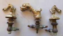 Architectural Antique set of Gold Faucet Fixture