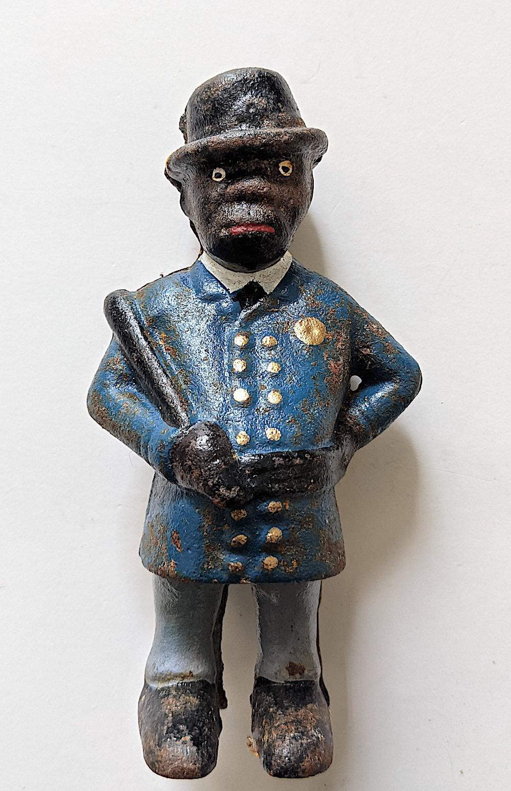 "Antique Vintage Cast Iron Black Americana 5"" High"