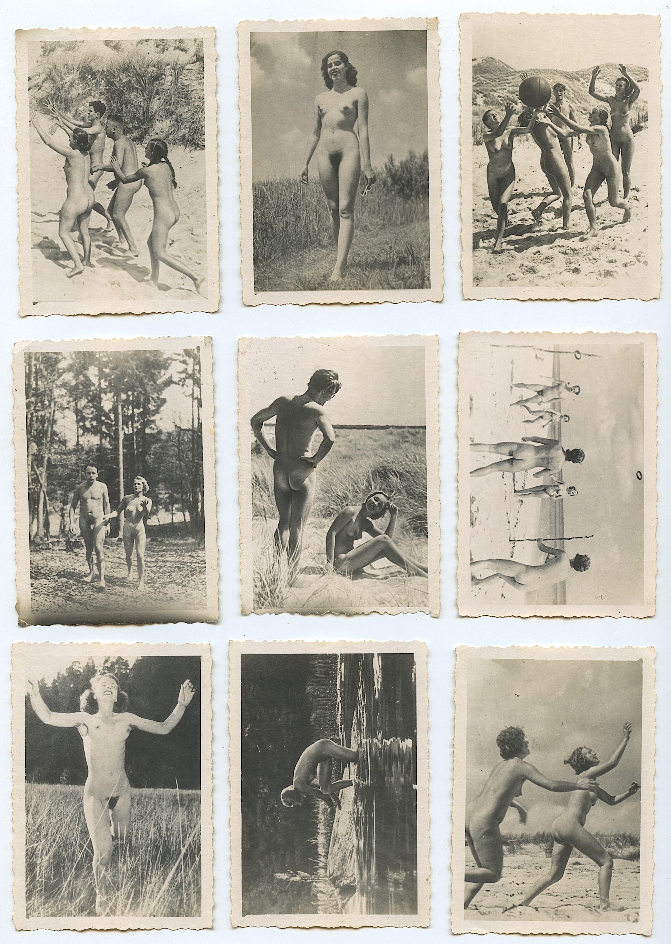 Lot - Set with 9 Vintage Nudism Naturalism Photos, 1940s