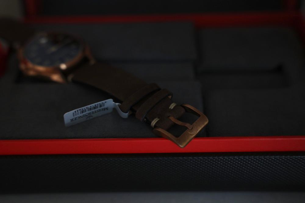 Meistersinger Metris Bronze Automatic Watch, 38mm, Leather