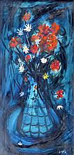 Charles Levier (1920 - 2003) still life with blue flowers, Listed