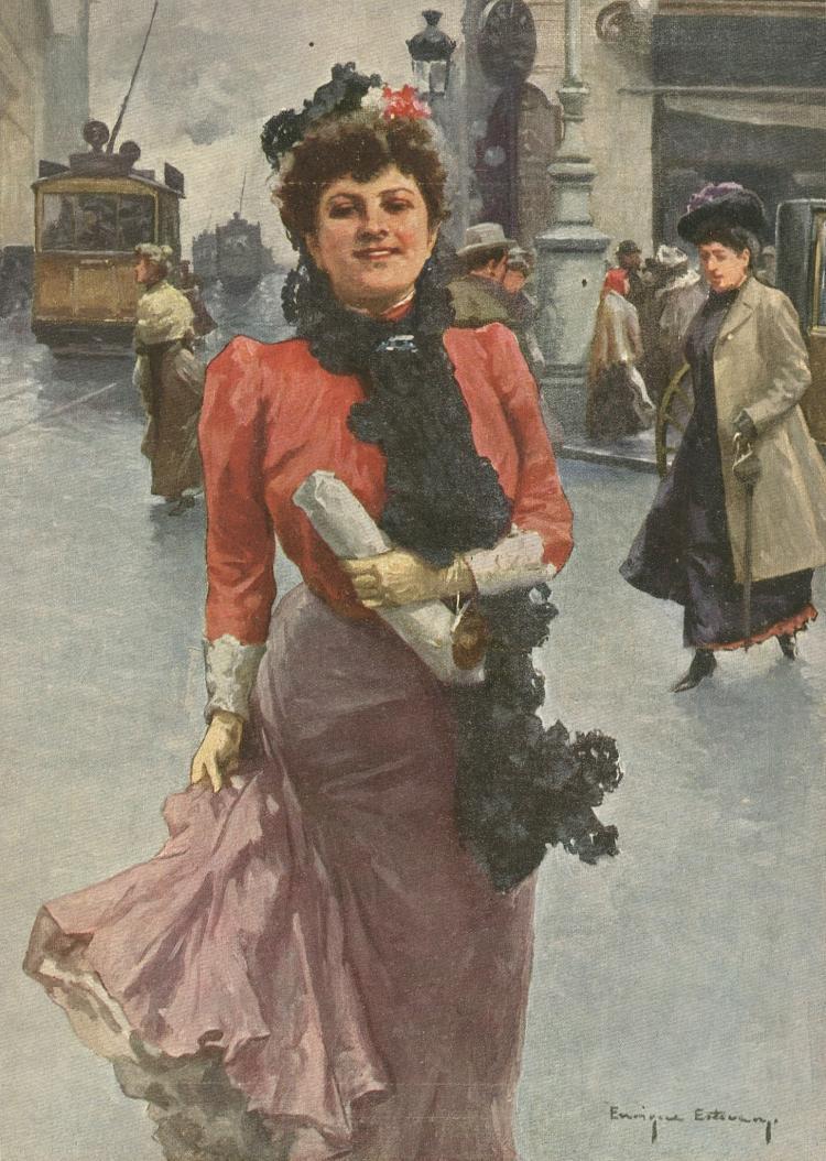 ENRIQUE ESTEVAN - Modernism Illustration Blanco y Negro, 1907