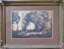 Antique CAMILLE COROT Engraving, Dancers, 19th C.