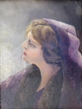 Old Oil Painting with Female Portrait