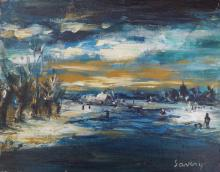 Old Oil on canvas/panel signed Saverys