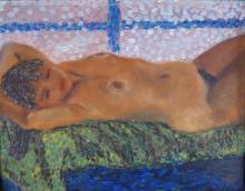 Old Oil Pointillism Painting Nude Erotic