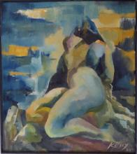 Cubism Oil with Female Nude, Signed 1981