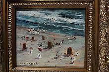Oil Impressionistic Beach Scene Willem van Hasselt
