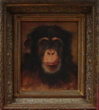 Oil with Chimpanzee Signed Jos Schippers