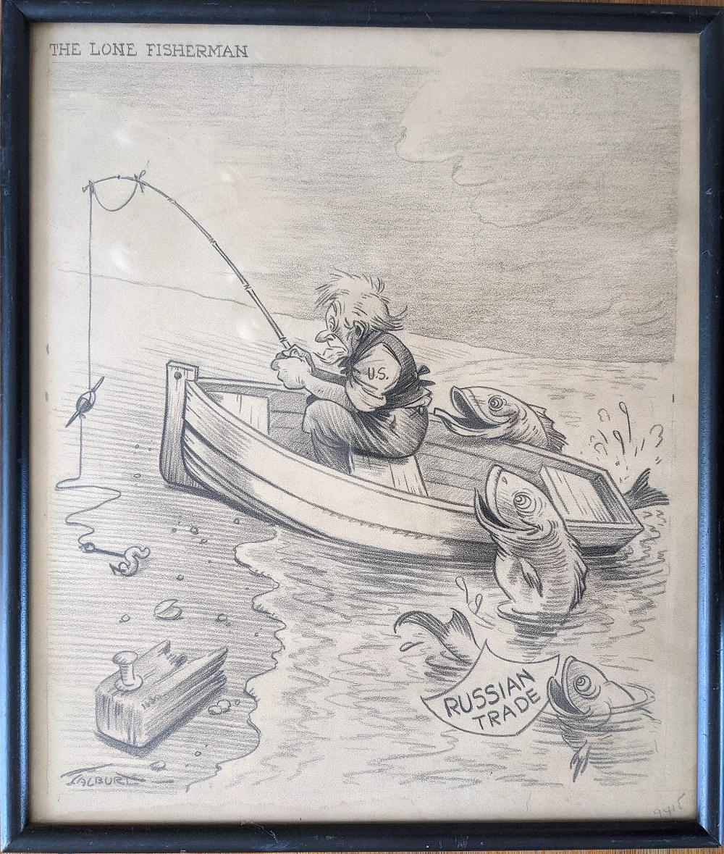 Vintage Original Signed Pencil Cartoon Drawing WWII Era