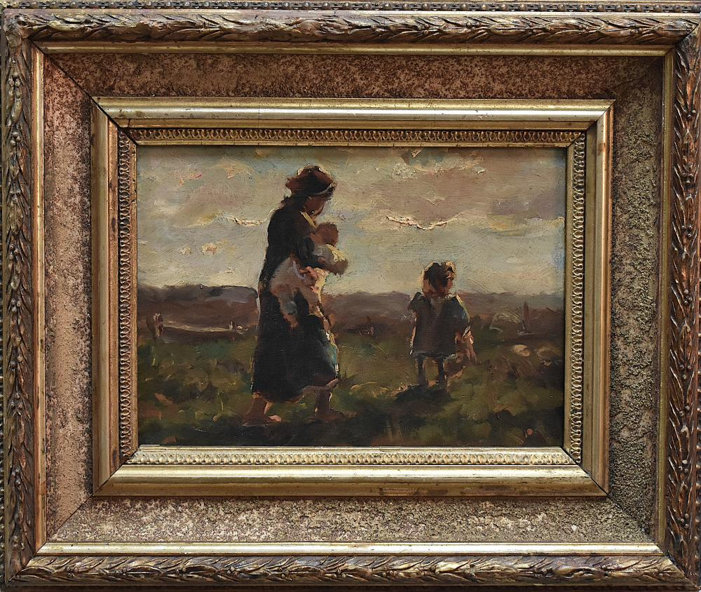 Edith Hume (1843-1906) Oil Painting Mother and Child