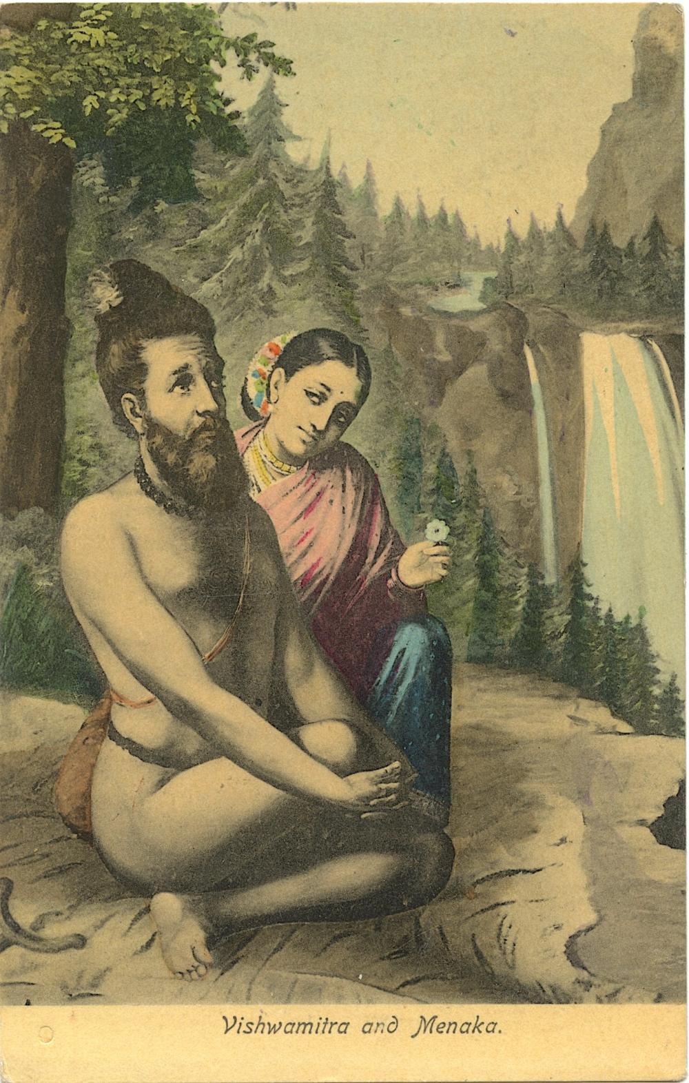 Antique / Vintage Postcard Vishwamitra and Menaka