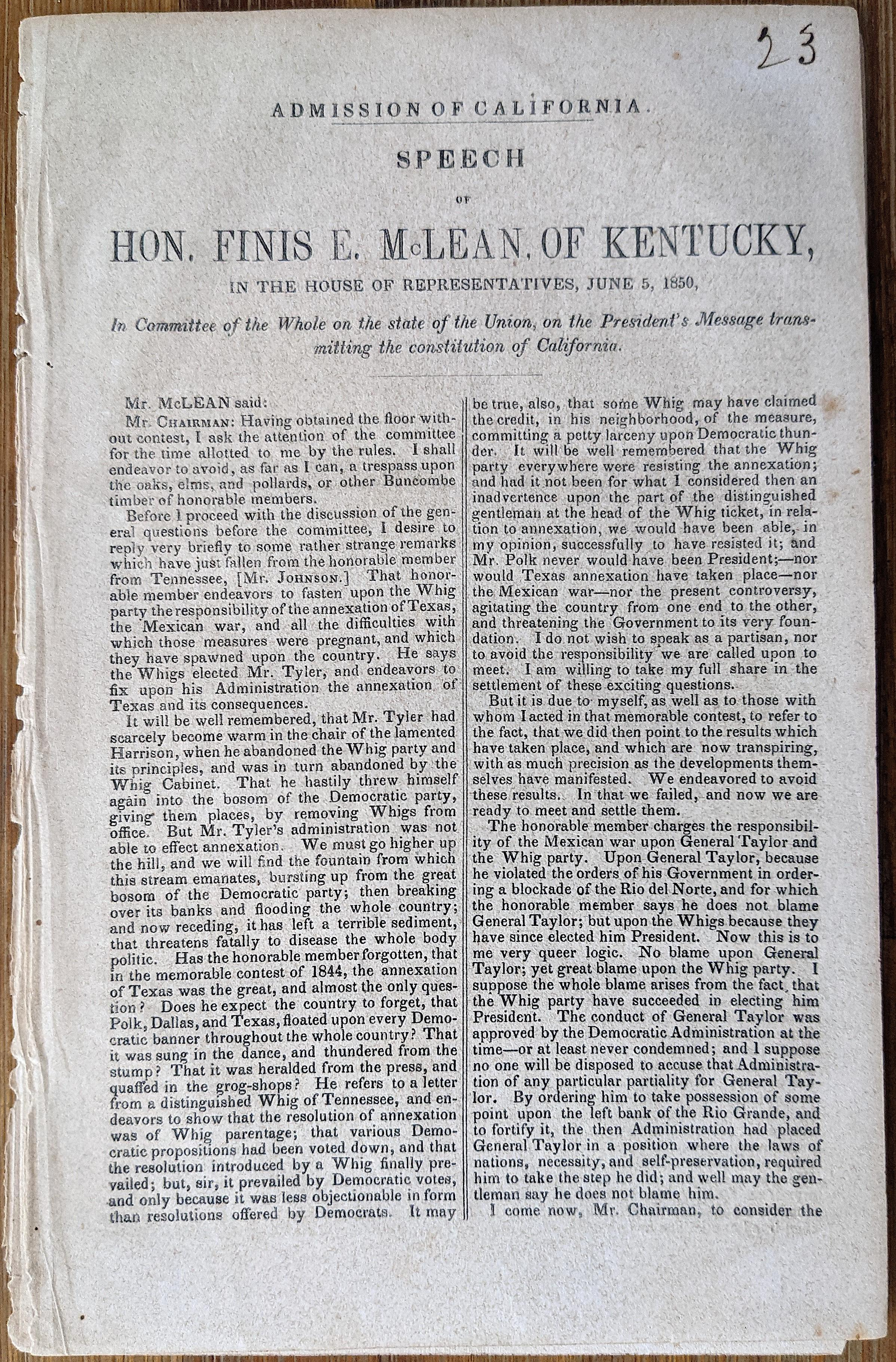 Antique Speech Admission of California To The Union, 1850
