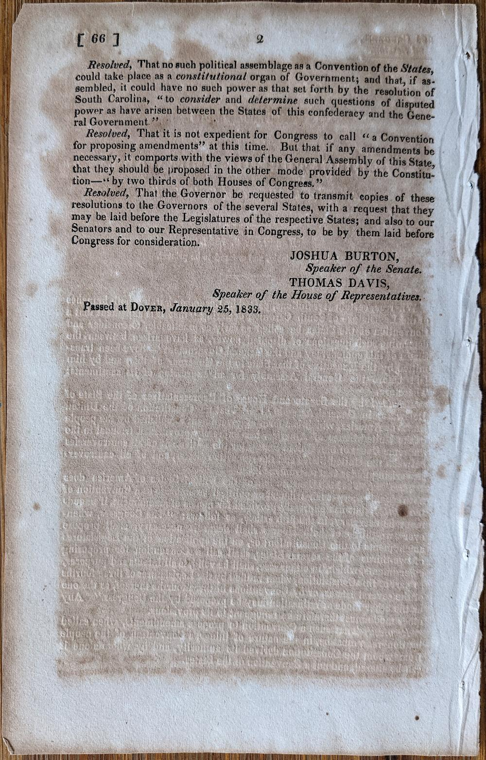 Antique Resolutions Delaware Against Slavery, 1833